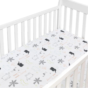 Crib Sheet Percale Multi Jungle Animal