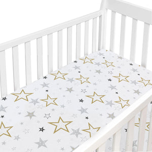 Crib Sheet Percale Multi Golden Star