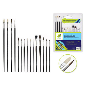 Artist Brush Set: Student Grade X15 Black Handle Complete Range - Dollar Max Depot