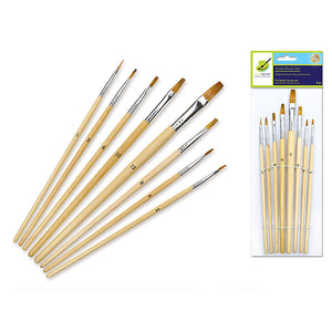 Artist Brush Set: #1-#12 Flat Bristle  X8 Wood Handle - Dollar Max Depot