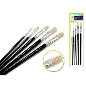 Flats Artist Brush Set: #0-#16 Fine Bristle X5 Wood Handle - Dollar Max Depot