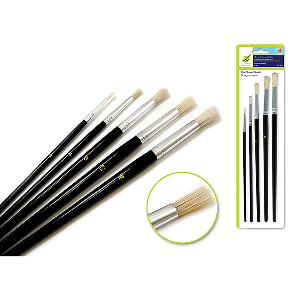 Rounds Artist Brush Set: #0-#16 Fine Bristle X5 Wood Handle - Dollar Max Depot