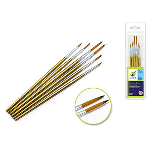 Artist Brush Set: Deluxe Nylon Round Kit X6 2Ea#20/0+10/0+1 Wood Handle - Dollar Max Depot