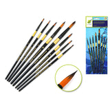 Round Set Artist Brush Set: Oriental Art Inspired X8 Wood Handle - Dollar Max Depot