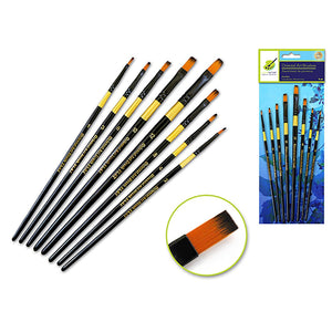 Flat Set Artist Brush Set: Oriental Art Inspired X8 Wood Handle - Dollar Max Depot