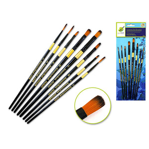 Liner/Filbert/Angular Set Artist Brush Set: Oriental Art Inspired X8 Wood Handle - Dollar Max Depot