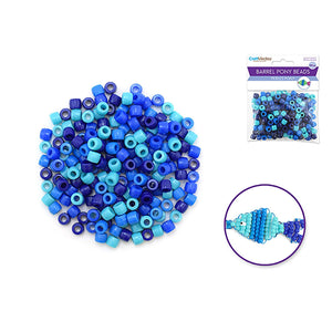 The Blues Pony Beads: 8Mmx6Mm Barrel Color-Mix Value-Pak X200 - Dollar Max Depot