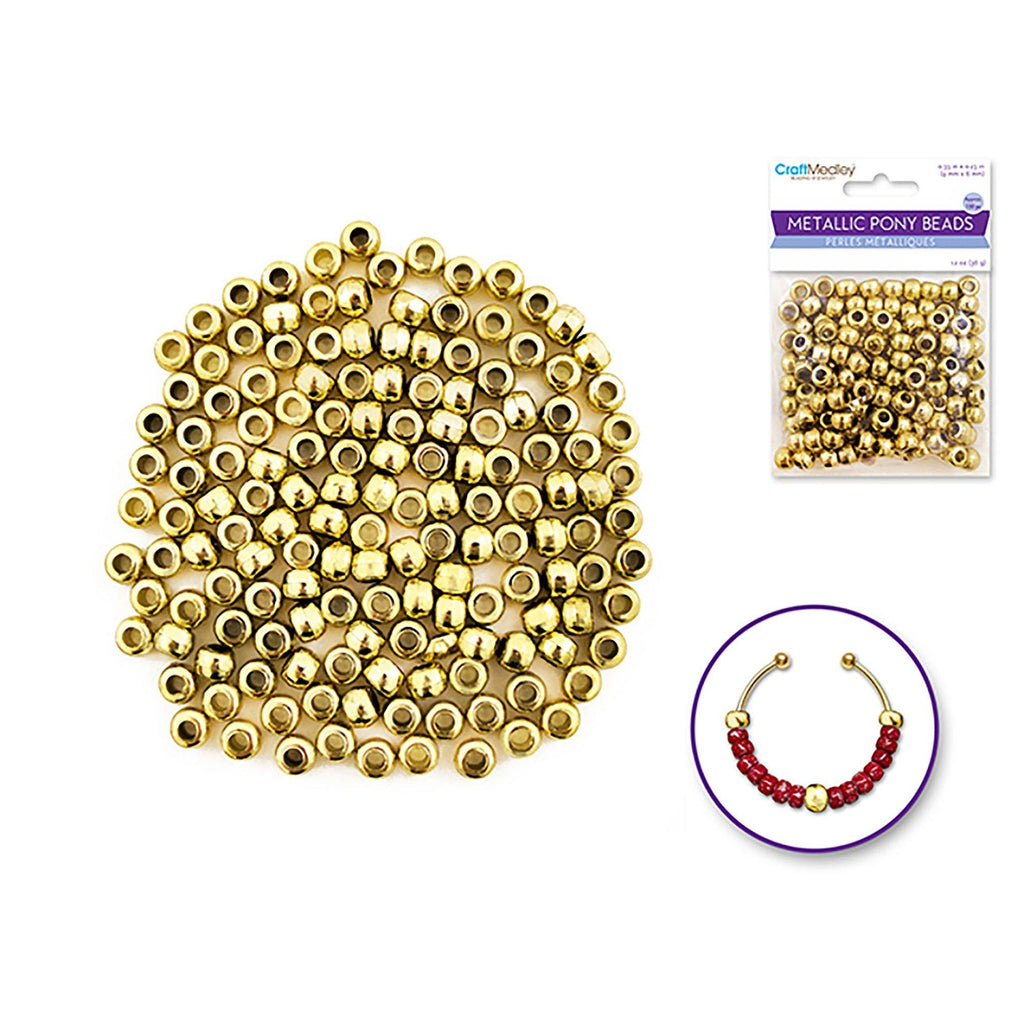 Gold Pony Beads: 9Mmx6Mm Barrel Metallic X150 - Dollar Max Depot