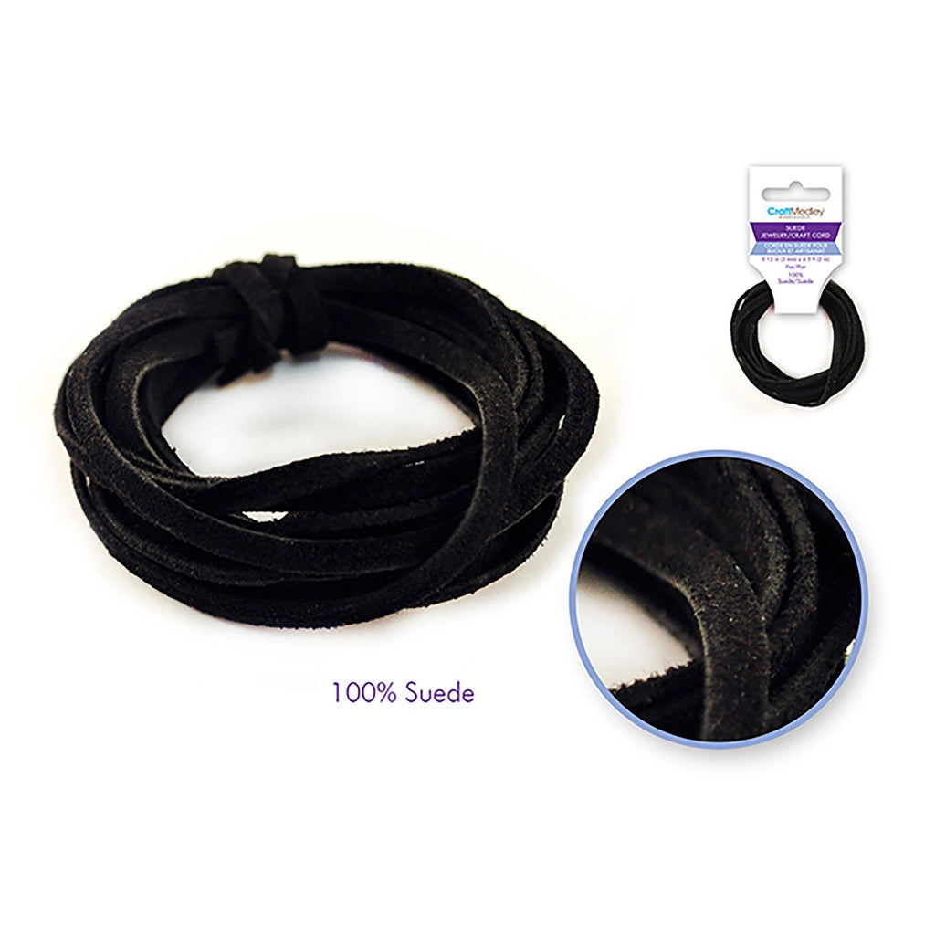 Black Jewelry/Craft Cord: 100% Suede 3Mm Flat X2M - Dollar Max Depot