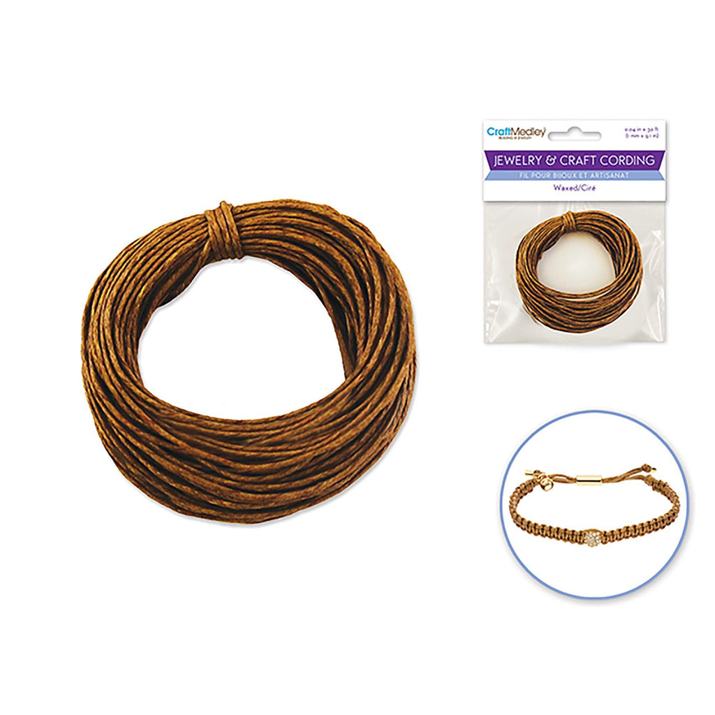 Dark Natural Jewelry/Craft Cord: 1Mmx10Yds Waxed Cord Round - Dollar Max Depot