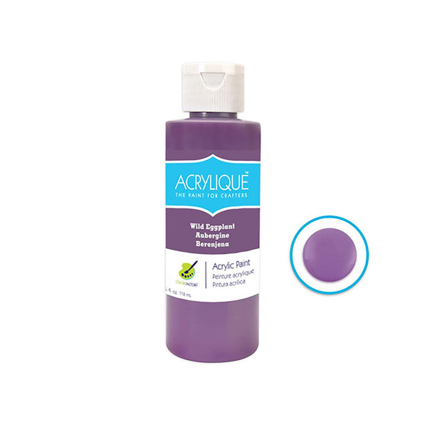 050 Wild Eggplant Color Factory: 4Oz Acrylique Paint For Crafter's