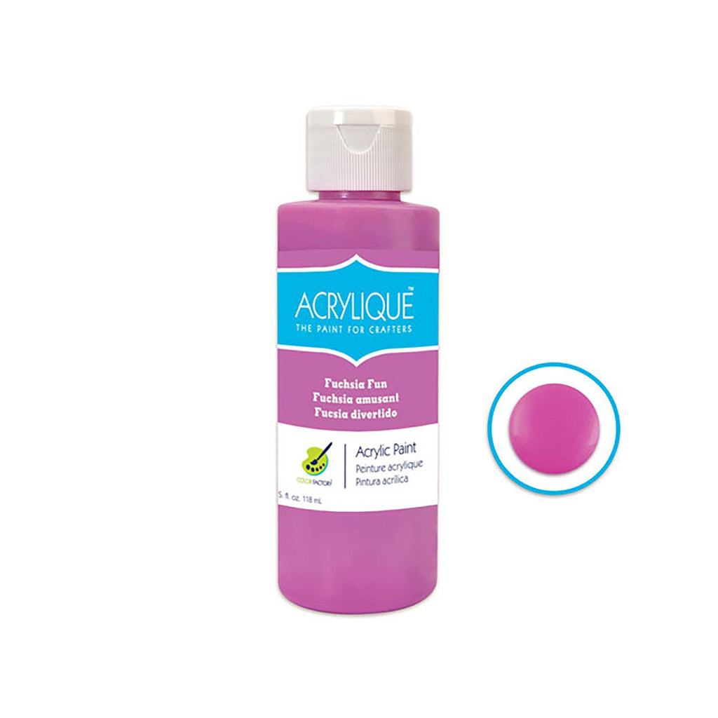 055 Fuchsia Fun Color Factory: 4Oz Acrylique Paint For Crafter'S - Dollar Max Depot
