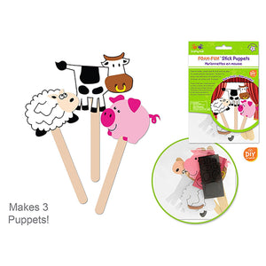 Barnyard Pals Krafty Kids Kit: Diy Foam Character Stick Puppets X3