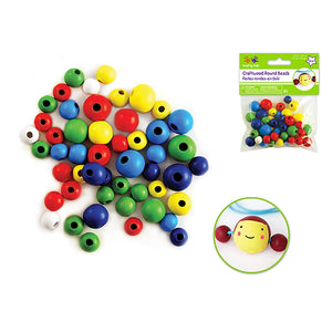 Craftwood: 10Mm-16Mm Asst Round Beads 50/Pk Colored - Dollar Max Depot