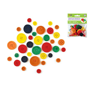 Craftwood: Craft Buttons 40/Pk Colored - Dollar Max Depot