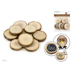 Craftwood: 2.5-4Cmx0.8Cm Natural Wood Trunk Slices X10 - Dollar Max Depot