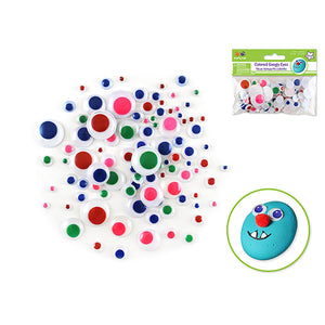 Blue/Green/Red/Pink/Yel Paste-On Googly Eyes: Round 5Mm-20Mm Asst Colors 92/Pk