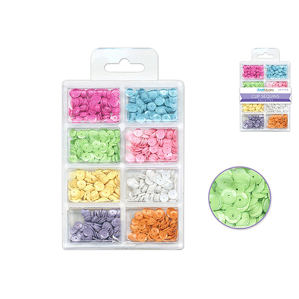 Baby Craft Medley: 6Mm Cup Sequins 25G Plastic Case 8-Comp