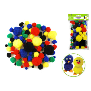 Krafty Kids: Pom-Poms Jumbo Pack X90 Primary Colors Asst - Dollar Max Depot