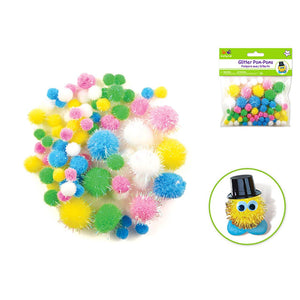 Krafty Kids: Pom-Poms Glitter Pack X75 Pastel Colors Asst Sizes - Dollar Max Depot