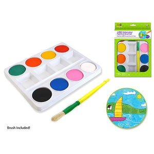 Krafty Kids: Jumbo Watercolor Paint Palette Set W/Brush - Dollar Max Depot