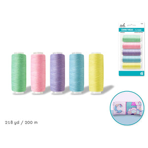 Pastels Asst Needlecrafters: Polyester Sewing Thread X5 200M/Spool - Dollar Max Depot