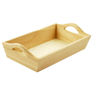 "Wood Craft: 8 1/8""X4 5/8""X2 1/8"" Paintable Tray W/Handles - Dollar Max Depot"