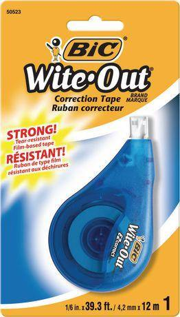 Bic Wite-Out Strong Tear Resistant Correctoion Tape 12M - Dollar Max Depot
