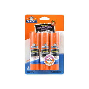 Elmer'S School Washable Glue Stick 3 X 6G Disapearing Purple - Dollar Max Depot
