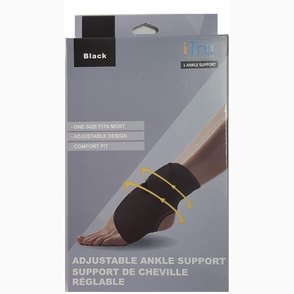 Adjustable Ankle Support - With Velcro Enclosures - Black - Neoprene Stretchable Material - Dollar Max Depot