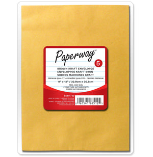 "5 Brown Kraft Envelopes 9""X12"""