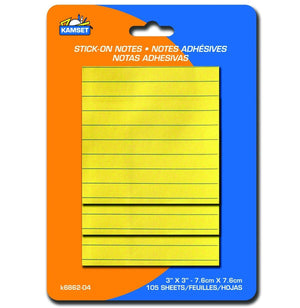 "100 Lined Stick-On Notes 3""X3"" - Dollar Max Depot"