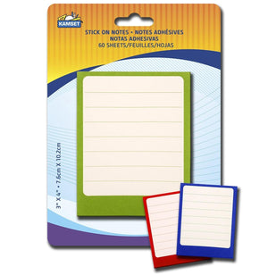 60 Lined Stick-On Notes 3`X4 - Dollar Max Depot