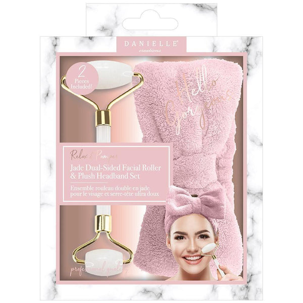 Set Of Jade Dual-Sided Facial Roller And Pink Plush Heandband
