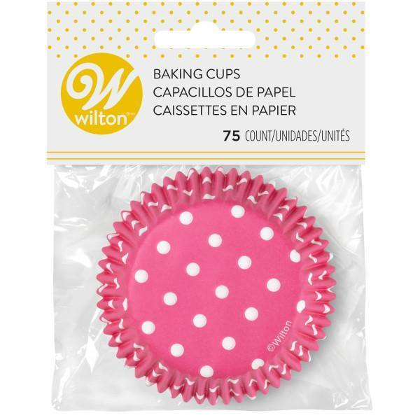 Baking Cups 75Ct Std Dots Pink