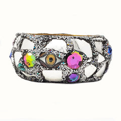 SILVER EYE BEAD BANGLE