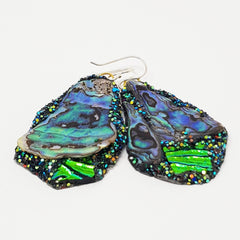 PAUA SHELL AND GREEN EARRINGS