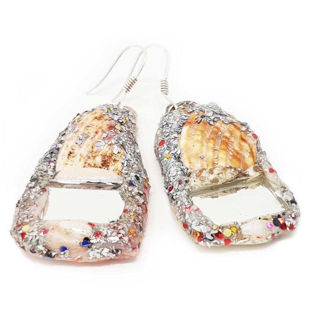 SHELL AND MIRROR EARRINGS