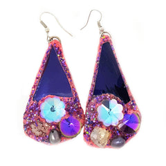 PURPLE & PINK PENDANT EARRINGS