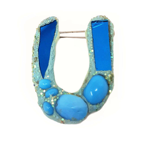 LETTER U - TURQUOISE BROOCH