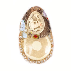 MAMMOTH LEMON COSMIC EGG BROOCH
