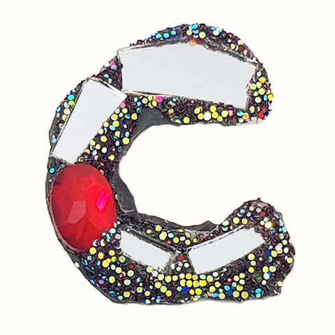 LETTER C - SILVER & RED BROOCH
