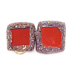 BRONZE SQUARE CLIP-ON EARRINGS