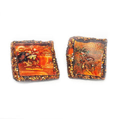 ORANGE SQUARE CLIP-ON EARRINGS