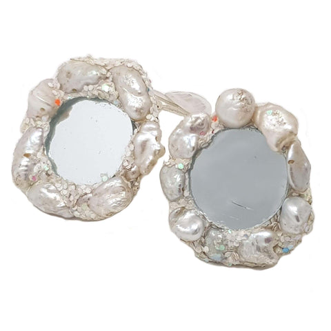 WHITE PEARL CLIP-ON EARRINGS