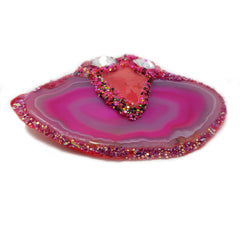 HEART EMERGES INTO THE PINK POOL - PINK BROOCH