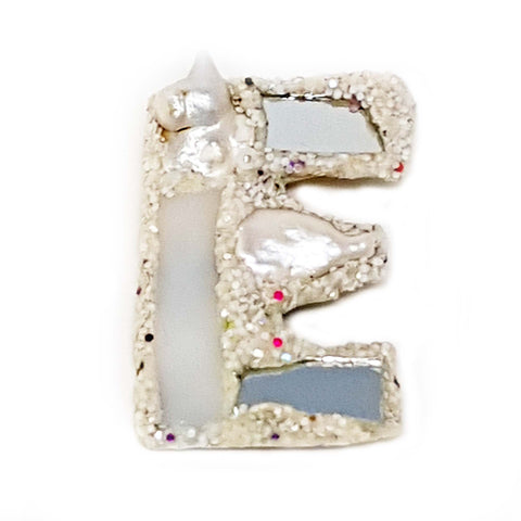 LETTER E - WHITE BROOCH