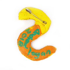 LETTER S - YELLOW BROOCH