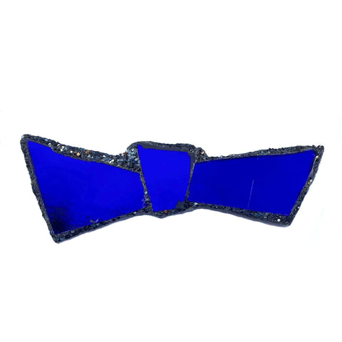 BLACK AND BLUE BOW TIE BROOCH