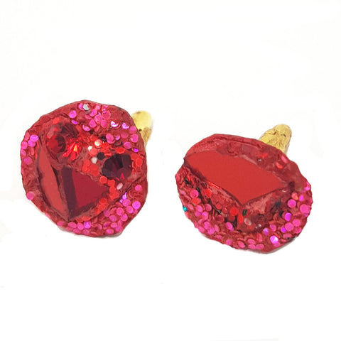 RED AND PINK CUFFLINKS